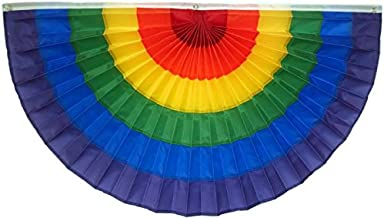 """product image for Independence Bunting - Rainbow Bunting Flag! American Made 2' x 4' LGBTQ Flag Banner! Our Fully Sewn Nylon Gay Pride Flag Banners Lets You Show Your Support for The LGBT Community! (24"""" x 48"""")"""