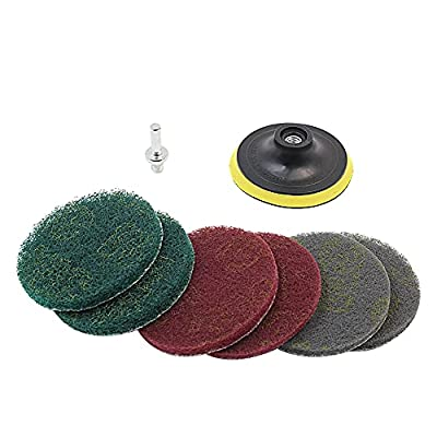 GIB cleaningtool 8 Pcs Drill Brush Attachment Set 4 Inch Scouring Pads and Hook & Loop Backing Pad for Car Detailing, Bathroom, Car, Grout, Carpet, Floor, Tub, Shower, Tile, Corners, Kitchen