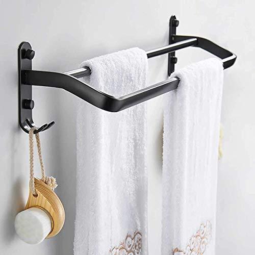 XYSQWZ Towel Rack Wall Mounted Bathroom Wall Mount Storage Organizer Shower Bar Shelf Space Aluminum Double Shot Towel Rail Rack Robe Hooks Holder,4 Hooks,for Bathroom Kitchen (Size : 60cm)