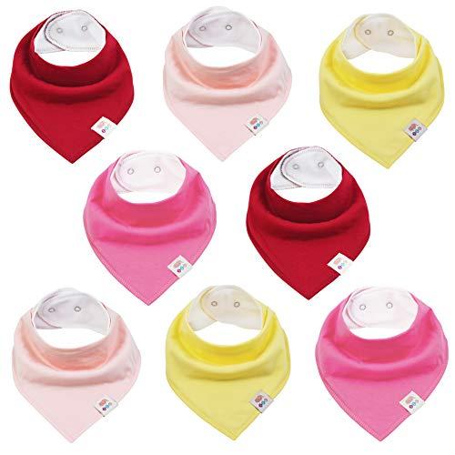 M.M.C. Baby einfarbige Dreieckstücher 8 Stück Halstuch aus Baumwolle mit verstellbaren Druckknöpfen Spucktuch Lätzchen für Kleinkinder Jungen und Mädchen (Set Mädchen)