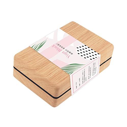 BKAUK Ladrillo de corcho de alta densidad para yoga, ladrillo para el hogar, fitness, bloques de arco iris, soporte auxiliar, color madera