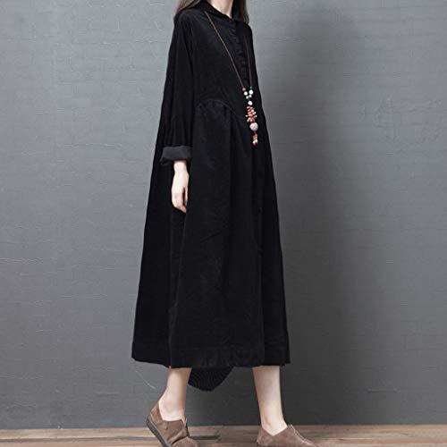 ZNBJJWCP Vestido de pana grueso para otoño e invierno, cuello de vuelta, blusa con botones, vestido largo vintage para mujer (color: B, tamaño: grande)