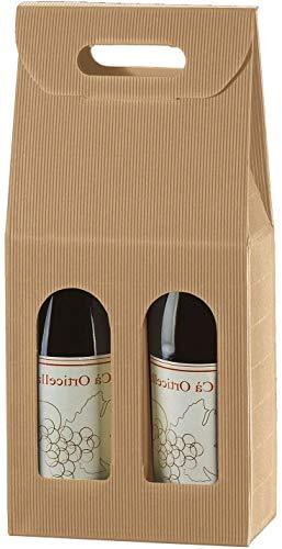 SCATOLA BOX PER 2 BOTTIGLIE AVANA MARRONE VINO BIRRA OLIO 750 ML MANICO CARTONE