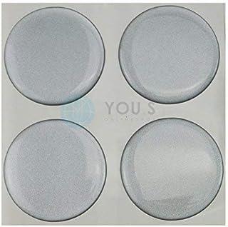 4 x Nabenkappen Silikon Aufkleber 55,0 mm   Silber Emblem Selbstklebend
