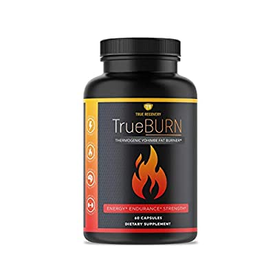 True Recovery TrueBURN Thermogenic Yohimbe Fat Burner -Energy Booster, Appetite Suppressant, Weight Loss Supplement with Raspberry Ketones & Green Tea Extract - 60 Weight Loss Pills for Men and Women