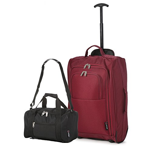 5 Cities Set of 2 Ryanair Cabin Approved Hand Luggage Set Main and Second Hand Luggage Set, 55x35x20cm, 42L, 35x20x20, 14L - Set Carry On Both! (Wine/Black)