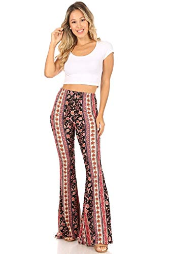 SWEETKIE Boho Flare Pants, Elastic Waist, Wide Leg Pants for Women, Solid & Printed, Stretchy and Soft (Black Purple Mauve 10020, Medium)