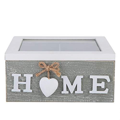 Caja de almacenamiento Caja de almacenamiento de joyería de madera Lata de té Oficina en casa Escritorio Adorno decorativo Regalo