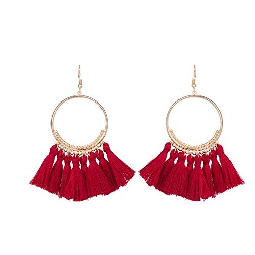 Arichtop Frauen Mode böhmischen ethnischen Fransen Quaste Ohrringe goldenen runden Kreis Ring Dangle hängende Tropfen Ohrringe Jewelr