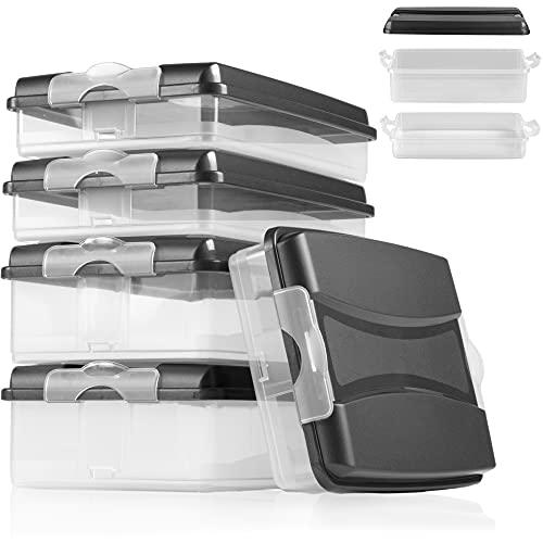 Hausfelder Aufschnittbox Organizer Set - stapelbar mit Deckel – Kühlschrank Wurstbox Aufschnittdosen (5 Anthrazit Aufschnittboxen: 3X flach, 2X hoch)