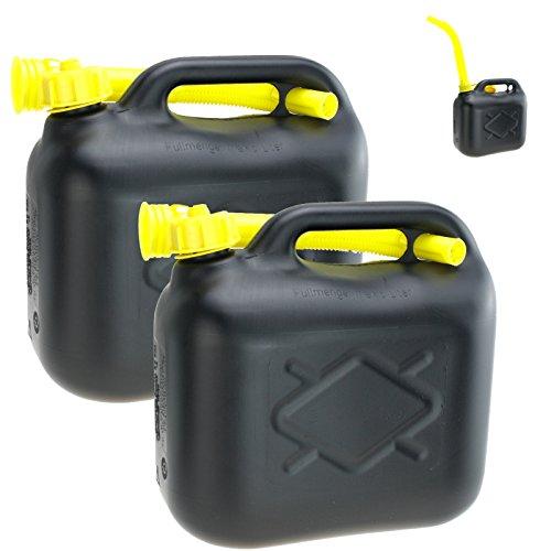 2er Set 20 Liter Kanister Maße: 38 x 38 x 16cm (BxHxT) Benzinkanister Dieselkanister mit Trichter Kunststoff von Lennox