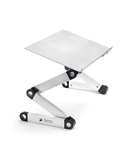 Executive Office Solutions Portable Adjustable Aluminum Laptop Stand/Desk/Table Notebook MacBook Ergonomic TV Bed Lap Tray Stand Up Sitting - Silver (EOS-3)