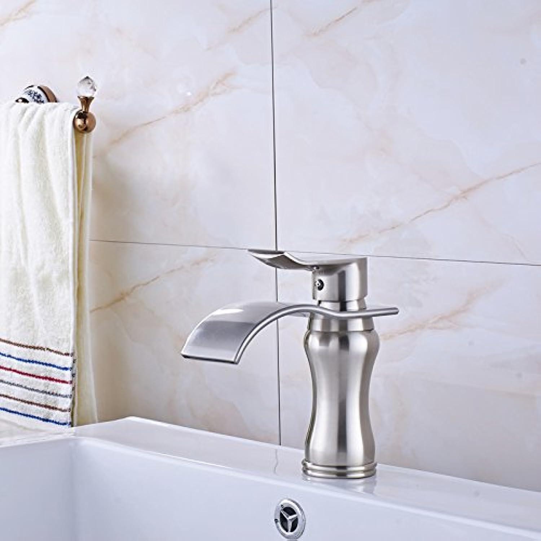 U-Enjoy Brushed Waterfall Sink Top Quality Faucet Deck Mounted Bathroom Vanity Sink Mixet Single Handle (Free Shipping)
