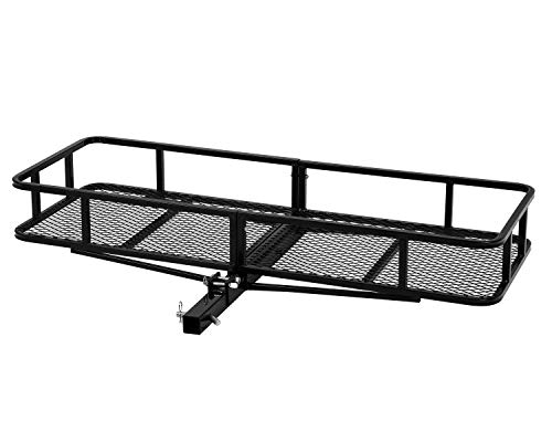 67 Inch Basket Hitch Cargo Carrier Capacity Basket Luggage Rack Mount Hauler Truck Car Black Steel 500 lbs