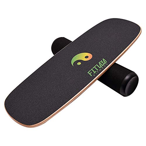 Fitlaya Fitness Balance Board Trainer Wooden Training Equipment for Fitness Workout, Hockey, Skateboarding, Surfing and Snowboarding (Ying YANG)