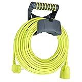 Masterplug Cable alargador de 25 m, Cable de alimentación con protección de Contacto y Soporte de Pared, Distribuidor de Corriente para Interior y Exterior.