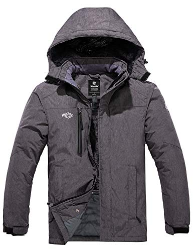 Wantdo Men's Waterproof Ski Jacket Windproof Rain Jackets Insulated Winter Coats Dark Gray M