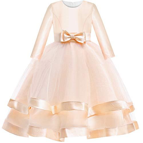 Vestido para niña Manga Larga champán Pelota Vestido Boda Fiesta Pageant 12...