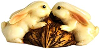 Top Collection Enchanted Story Garden Rabbits Kissing on Walnut Outdoor Decor