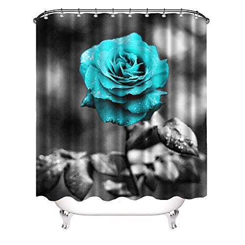 VividHome Teal Blue Rose Shower Curtain Flower Bathroom...