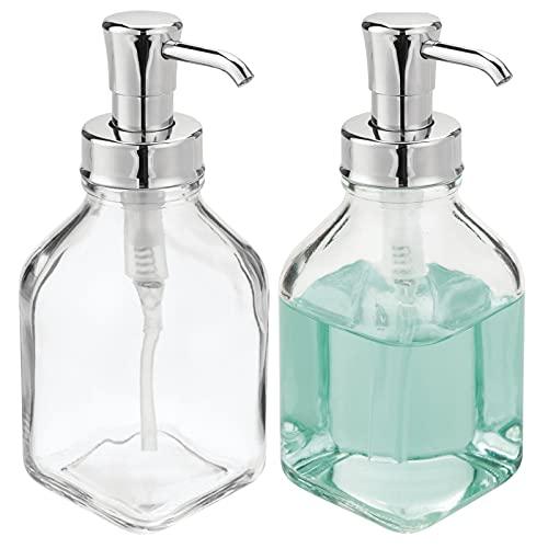 mDesign Set da 2 dispenser sapone – Pratico portasapone liquido ricaricabile – Dosatore sapone per il sagno e cucina capacità di 562 ml – In vetro e plastica – Trasparente/argento