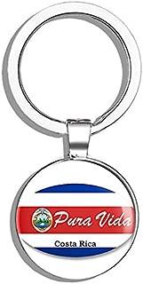 HJ Media Oval PURA VIDA (Costa rica Rican cr Love) Metal Round Metal Key Chain Keychain Ring