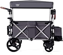 BABY JOY Foldable Stroller Wagon for Kids, 2 Passenger Push Pull Stroller with Adjustable Handle Bar, Removable Canopy, Drapes, Safety Seats with 5-Point Harness, Shock-absorbing Wheels, Basket & Bags
