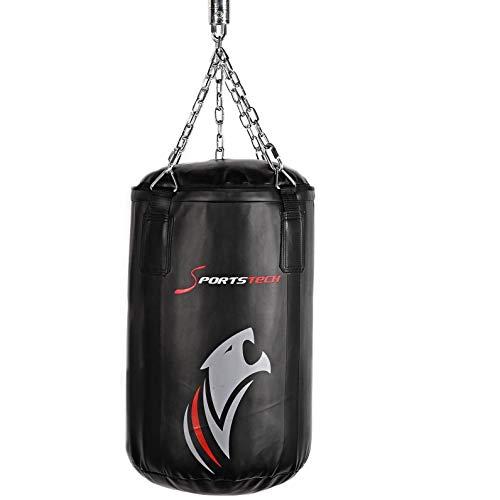 Sportstech Premium Kampfsport Boxsack mit Innovativer 5-Punkte-Stahlkette | Eigenentwickelter Haken + doppelverstärktes Boxsack-Set inkl Poster für Boxen mit Boxhandschuhen als Punchingsack Training