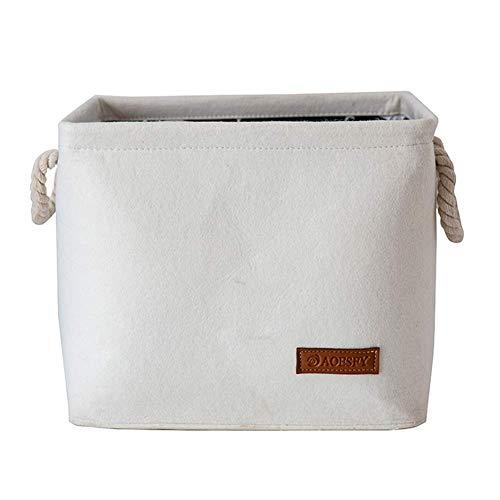 LXYZ Faltbarer zusammenklappbarer Wäschekorb mit Griff, großer Aufbewahrungskorb für Kleinigkeiten, tragbarer multifunktionaler Wäschekorb für Schlafzimmerschrank Weiß 29x24x18cm