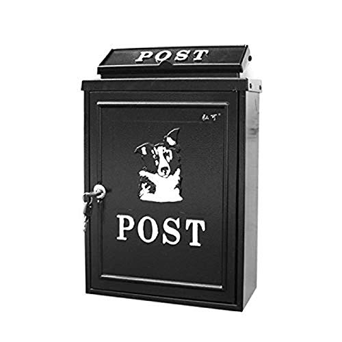 LXLXCS Mailboxes Wall Mounted Outdoor Rainproof Modern Lockable Steel Drop Box Black - Best for Voting, Charity, Ballot, Survey, Raffle, Contest, Suggestions, Tips, Comments