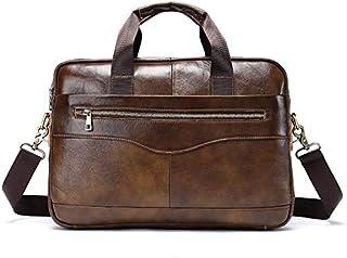 YXHM AU Men's Geniune Leather Leisure Business Briefcase Cross- Section Men's Handbag (Color : Coffee)