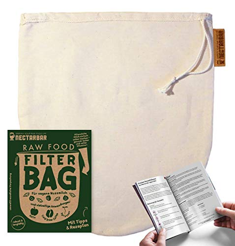 NECTARBAR Eco Bolsa para hacer LECHE VEGETAL - Algodón Natural RAW FOOD FILTER BAG - Filtro para Leche de nueces, de almendras, fermenter queso vegano, para zumo, jugo, horchata - con instrucciones