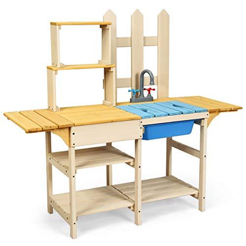 COSTWAY Matschküche mit Wasserhahn, Kinderküche Holz, Outdoor Küche, Holzküche, Spielküche, Spielzeugküche für Kinder ab 3 Jahren, 109 x 38 x 100 cm