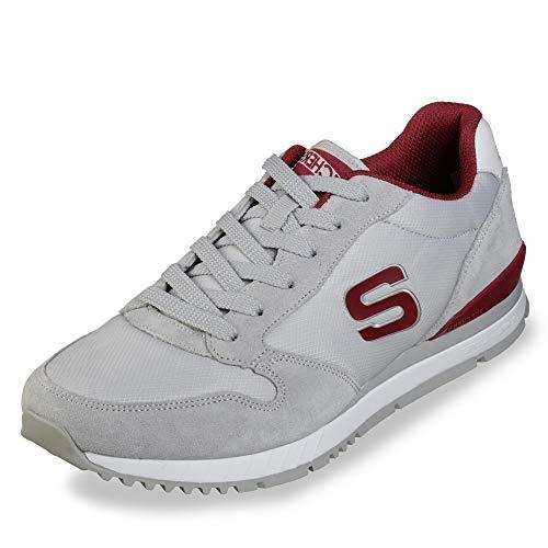 Skechers 52384 Sunlite Waltan Herren Sneaker aus Veloursleder dämpfende Sohle, Groesse 39, hellgrau