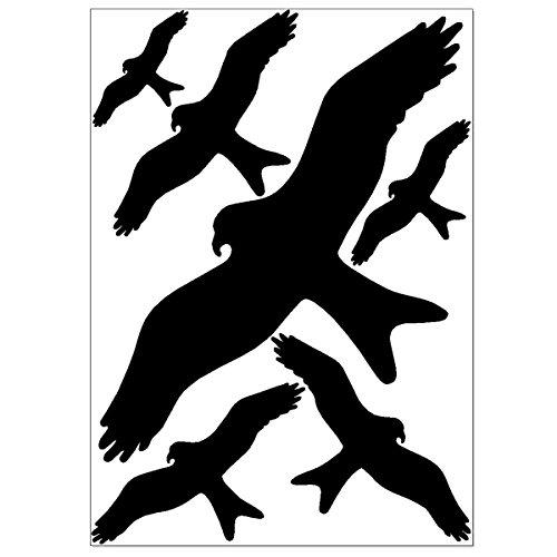 Vogel Aufkleber gegen Vogelschlag, zur Vogelabwehr, Warnvögel als Vogelschutz, 6 Vogelschreck Aufkleber auf A4 Blatt, Fensterschutz gegen Glasbruch, hochwertige Langzeitfolie für den Außenbereich
