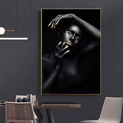 Impresión en Lienzo HD Mural Art Poster Retrato Pinturas en Lienzo Mujeres Negras Imagen de Dedo Dorado para la decoración de la Sala de Estar Sin Marco