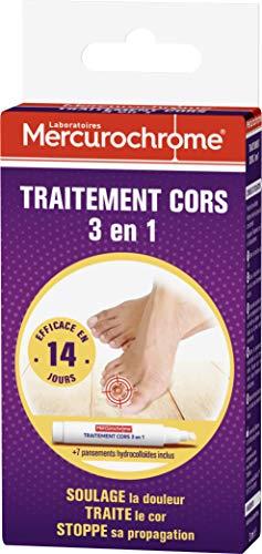 MERCUROCHROME - Traitement Cors 3 en 1 - Efficace en 14 Jours - Contient 1 Stylo + 7 Pansements Hydrocolloides