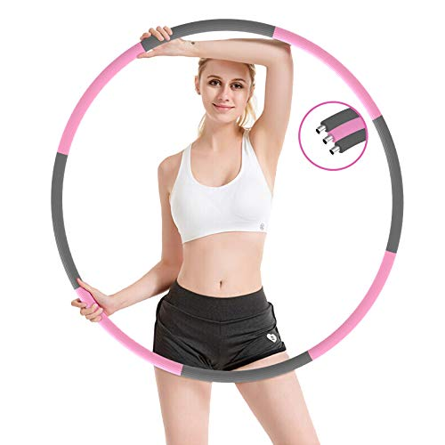 SKYNESS Exercise Hoop for Adults weightloss Fitness Exercise Massage Hula Hoop Weighted Hoola Hoop 8 Sections Detachable Design with Thick Premium Foam Home Workout Fitness Hoop