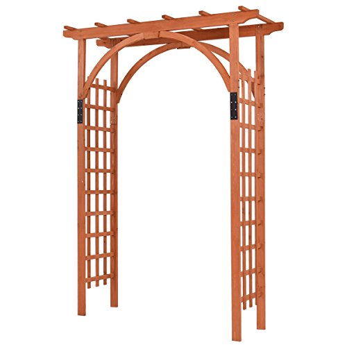 "Giantex 85"" Wood Arbor Arch Outdoor Trellis Pergola Providence Arbor for Climbing Plants Bridal Party Decoration, Natural (Style 1)"