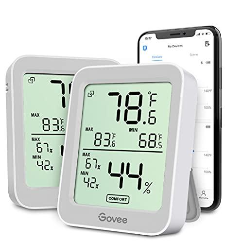 Govee - Termómetro higrómetro para interiores, 2 unidades, medidor de temperatura de humedad con pantalla LCD grande, alerta de notificación con registros máximos mínimos, 2 años de almacenamiento de datos para invernadero de habitación, color gris