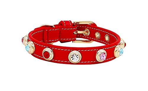 Collar de perro de lujo collar de gato Accesorios Bling checo Rhinestone personalizado diseñador Genuiner cuero perro cristal collar rojo mezcla color_s 1.6x24-30cm