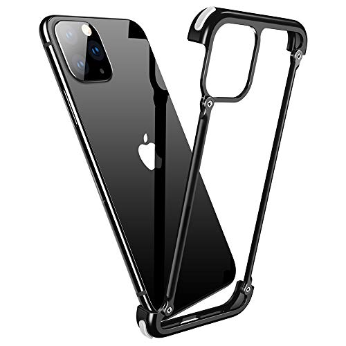 OATSBASF Aluminum Bumper Case Compatible with iPhone 11 Pro Max, Utral-Thin Corner Corver Bumpers Case for iPhone 11 Pro Max 6.5-inch (Black)