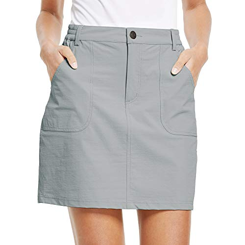 BALEAF Women's Outdoor Skort UPF 50 Active Athletic Skort Casual Skort Skirt with Zip Pockets Hiking Golf Gray XXL