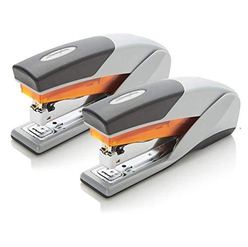Swingline Stapler, Optima 25, Full Size Desktop Stapler, 25 Sheet Capacity, Reduced Effort, Orange/Gray, 2 Pack (S7066402AZ)