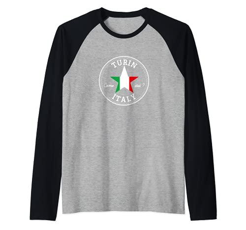 Turín Turín Italia Italia Piamonte recuerdo de vacaciones Camiseta Manga Raglan