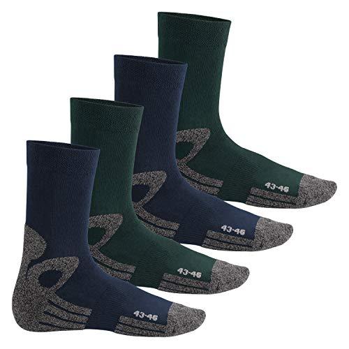Celodoro Damen und Herren Trekking-Socken (4 Paar), Arbeitssocken mit Frotteesohle - Blau-Grün 39-42