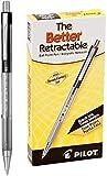 PILOT The Better Ball Point Pen Refillable & Retractable Ballpoint Pens, Fine Point, Black Ink, 12-Pack (30000)