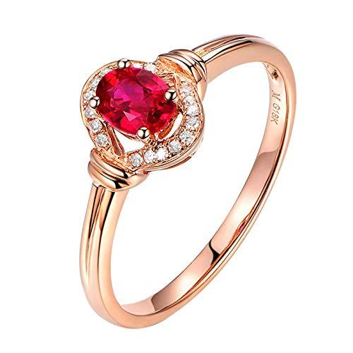 AueDsa Bague Femme Or Rose 750/1000 Oval Rubis Rouge 0.85ct y Diamant 0.08ct Taille de Bague 64
