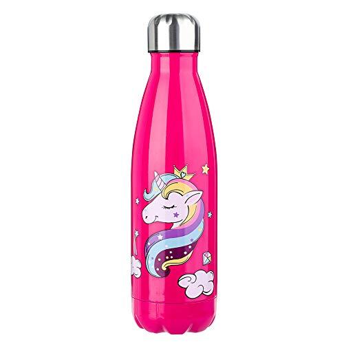 olyee Botella de Agua Aislada al Vacío de 500 ml de Doble Pared de Acero Inoxidable con Estampado de Flores a Prueba de...