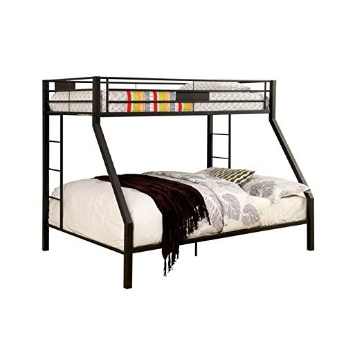 BOWERY HILL Twin Over Queen Metal Bunk Bed in Black by BOWERY HILL